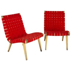 Jens Risom for Knoll Mid Century Strap Lounge Chairs, Pair