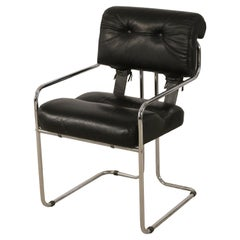 Guido Faleschini / Mariani for Pace Mid-Century Italian Black Leather and Chrome