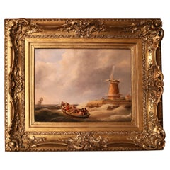 19th Century Seascape Oil Painting Signed J.C. Schotel