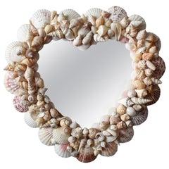 Coastal Heart Shape Sea Shell Encrusted Mirror