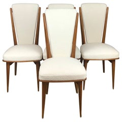 Elegant Set of 4 French Mid-Century Dining Chairs