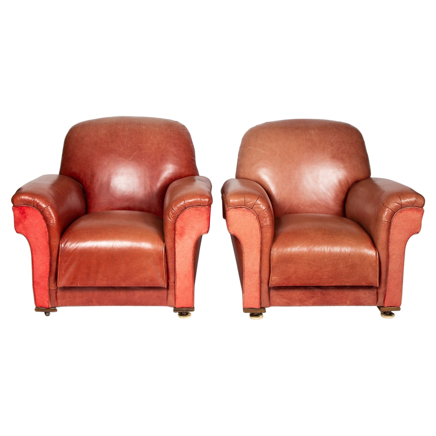 Pair of Two Tone Red Leather Club Chairs