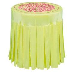 """""""β-Endorphin"""" Hand-Embroidered Yellow and Magenta Coffee Table"""