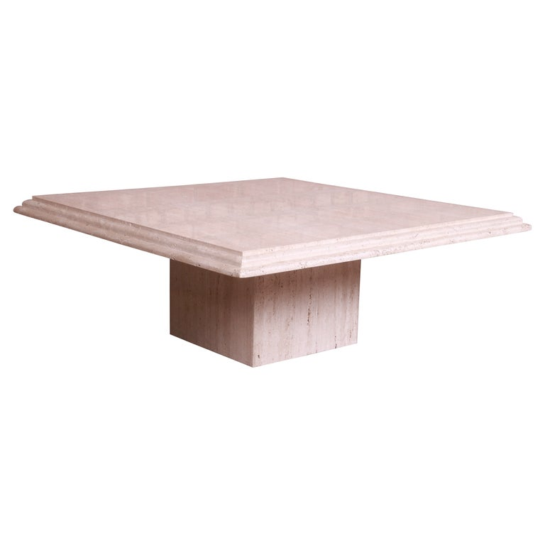 Modern Italian Travertine Marble Cocktail Table, Circa 1970s For Sale