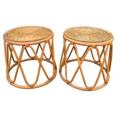 Pair of Rattan Tables with Woven Top and Glass