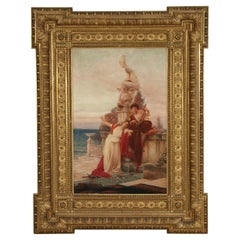 19th Century Italian Painting of the Muses in an Ornate Carved Giltwood Frame