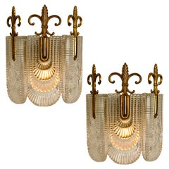 Pair of Rich Decorated Glass and Brass Wall Lights by Kaiser, 1970s, Germany