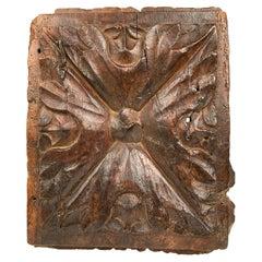 17th Century Spanish Carved Walnut Door Panel