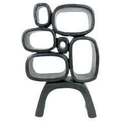 Ceramic Sculpture, 6 Hollow Rings on Angled Legs, Black with Metallic Specks