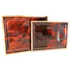 Italian Modern Serving Tray Set in Faux Tortoise Shell Lucite and Brass, 1970s