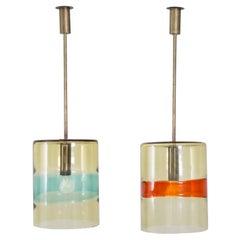 Pair of Pendants, Handblown Glass, Flavio Poli/Seguso, 1958