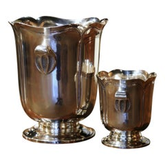 Mid-Century French Silver Plated Champagne Cooler with Matching Ice Bucket