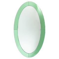 Italian Mid-Century Oval Green Glass Wall Mirror 'Manner of Fontana Arte'