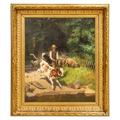 Large Original Oil on Canvas Painting of Boy with Calf and Sheep by A. Mackepran