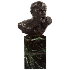 """Modernist Bronze Bust Sculpture of """"Pain"""" by Oszkar Zadory Hungarian, 1883-1947"""