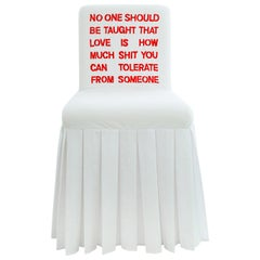 """""""No-One-Should"""" Hand-Embroidered White and Red Cotton and Silk Chair"""