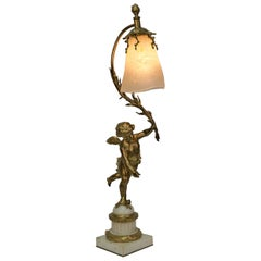 French Bronze Art Glass Table Lamp