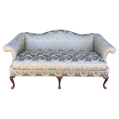 Moviestar Glam Blue Silk Camelback Settee Loveseat with Rolled Arms