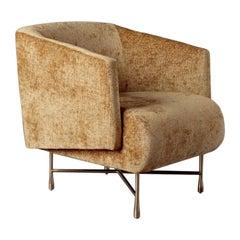Kelly Wearstler Bijoux Lounge Chair with Cast Brass Legs, Gold Chenille