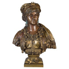 Polychrome-Patinated Bronze Bust by A. Gaudez