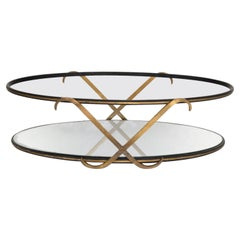 Regency Glamour Mirrored Oval Coffee Table Two Tier X Arturo Pani Mexico, 1950s