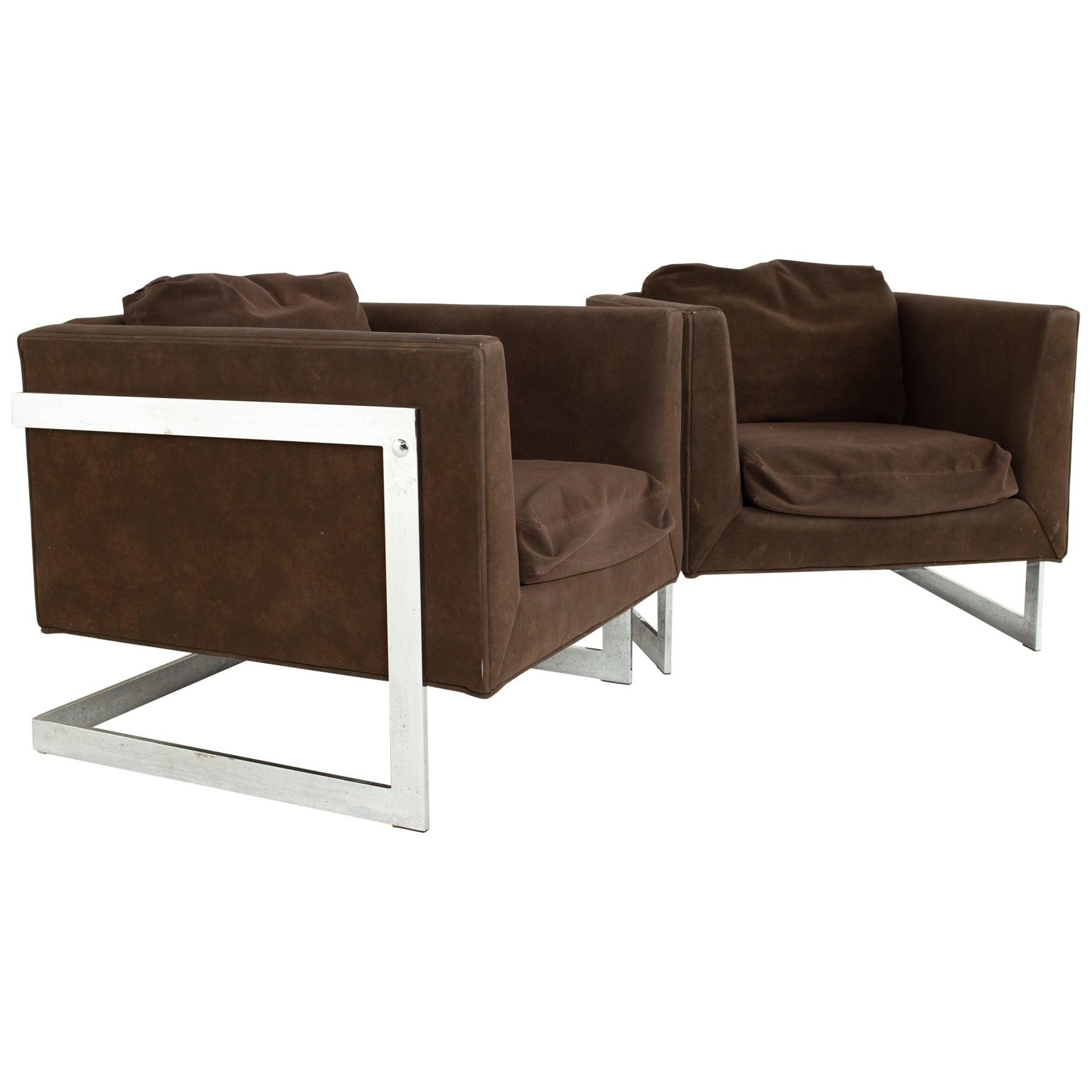 Milo Baughman Mid Century Chrome Cantilever Lounge Chairs - Pair