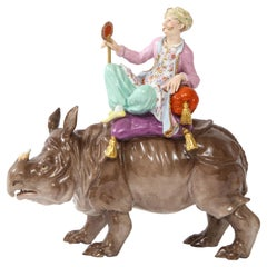 19th Century Meissen Porcelain Figure of a Malabar Man on a Rhinoceros