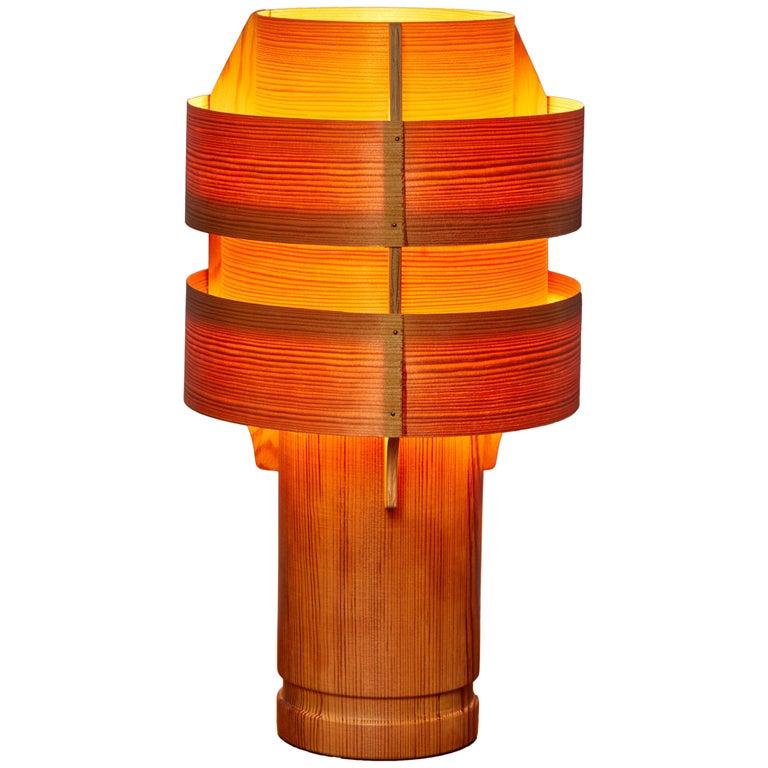 Rare 1960s Hans-Agne Jakobsson Model 243 Wood Table Lamp for AB Ellysett For Sale