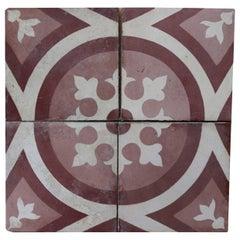 Set of 60 Reclaimed Patterned Encaustic Floor Tiles