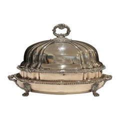 Old Sheffield Three Piece Meat Dome Warmer