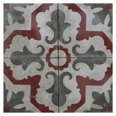 Set of Reclaimed Patterned Encaustic Floor Tiles