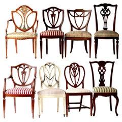 Georgian Revival Eclectic Set, Unique Set English Style Each in Different Design