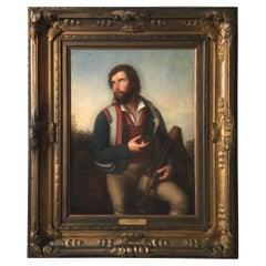 Oil on Canvas Titled Zampognaro by Consalvo Carelli '1818-1900'