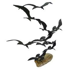 Modern Kinetic Sculpture, Bijan of California Flock of Seagulls Metal /Onyx, 70s