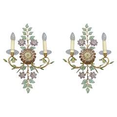 Large Signed Pair Palwa Flower Leaf Sconces Gilt Faceted Crystal Glass Bagues