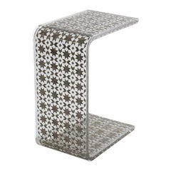 C Resin Side Table, Contemporary Side Table Silver