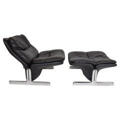 Ammannati & Vitelli Leather Lounge Chair & Ottoman Flat Chrome Base Italy 1970s