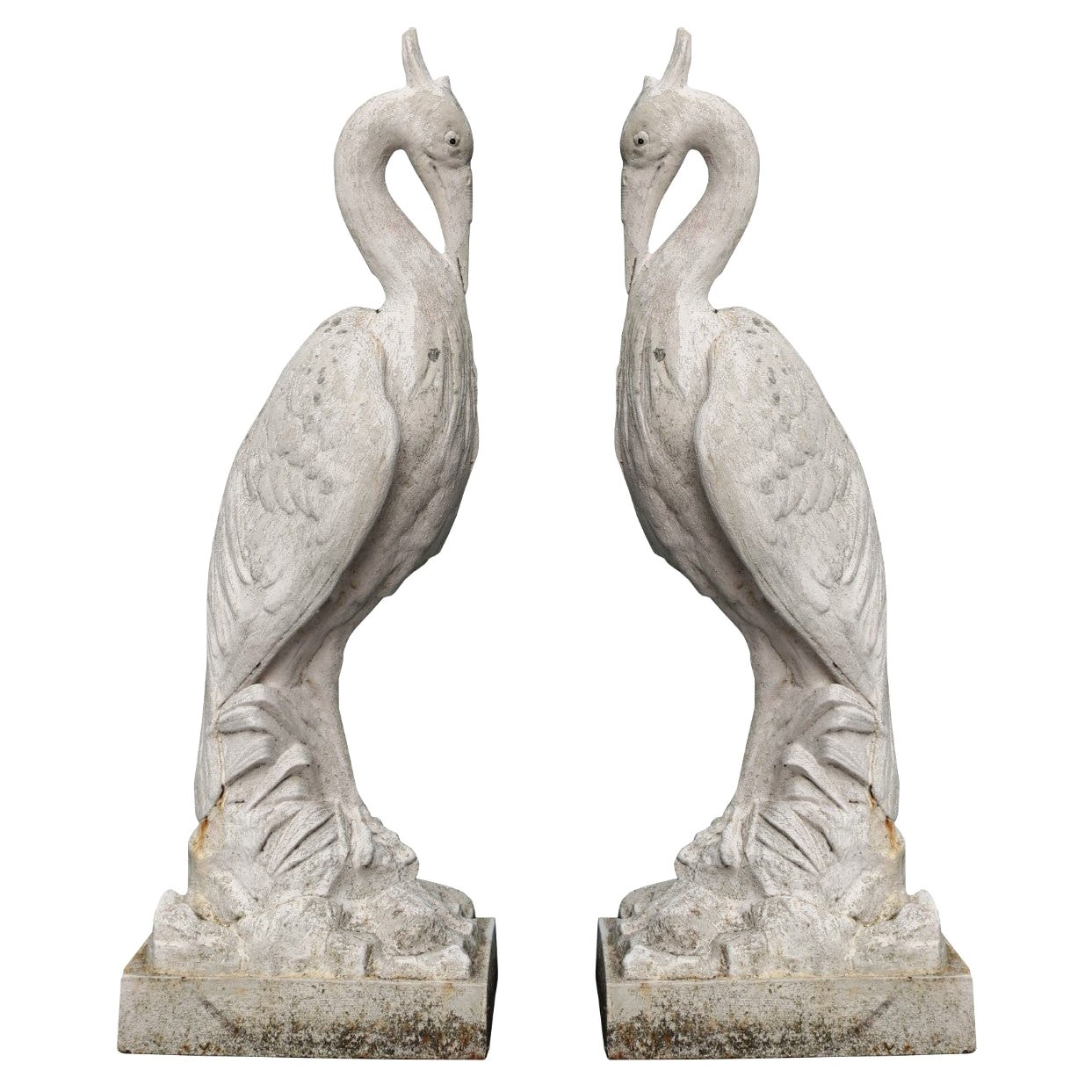 Two Antique Cast Iron Heron Sculptures