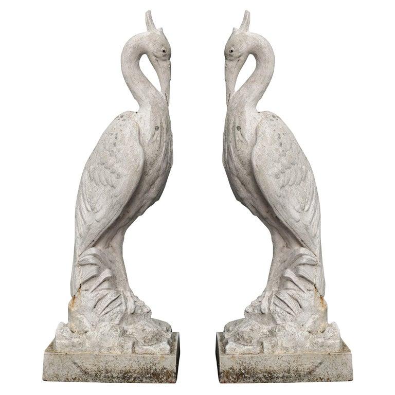 Two Antique Cast Iron Heron Sculptures For Sale