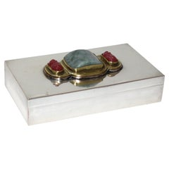 Silver Plate Storage Box with Chinese Jade