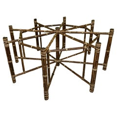 McGuire Bamboo and Raw Hide Hexagonal Dining Table