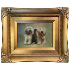 Oil Painting on Board of English Sheep Dogs