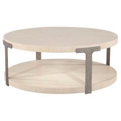 Modern Round Oak Coffee Table in Sunburst Pattern