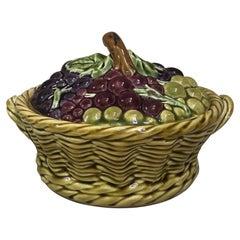 French Majolica Grapes Basket Sarreguemines, circa 1920