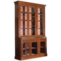 English Early Victorian Mahogany Veneer & Brass 2-Part Display Cabinet, ca. 1865