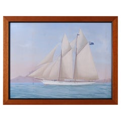 Antique Framed Painting of an English Yacht By Antonio De Simone