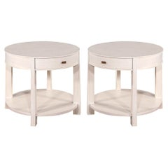 Pair of Round Bleached Side Tables by Barbara Barry