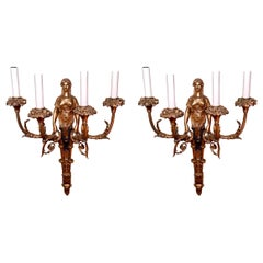 Pair Antique French Empire Bronze D'Ore Wall-Lights, Circa 1830-1850