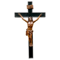 Great Quality Carved & Superb Condition Wooden Corpus Christi on Crucifix, 1800s
