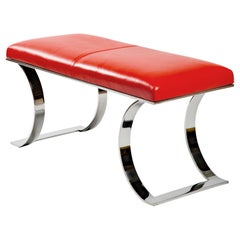 Karl Springer Leather and Polished Stainless Steel Bench